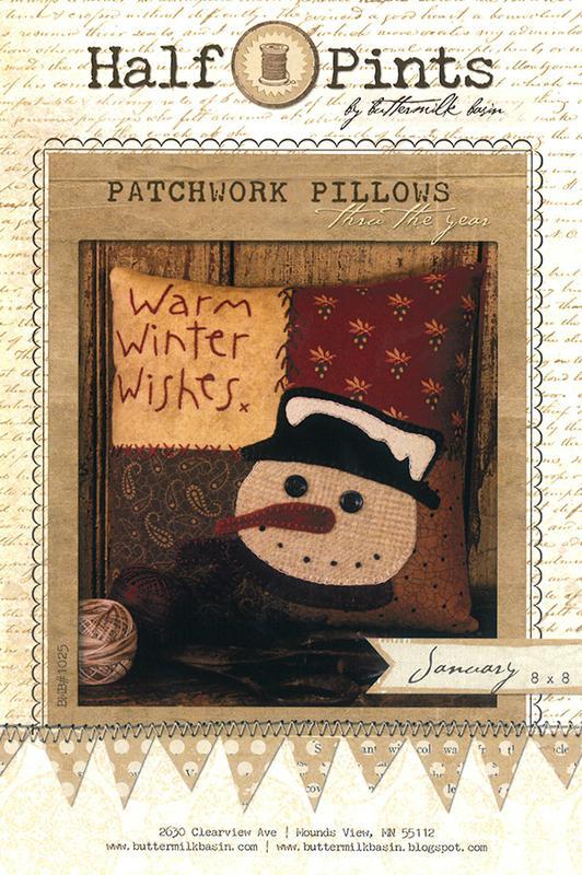 Patchwork Pillows Warm Winter Wishes Jan 8x 8