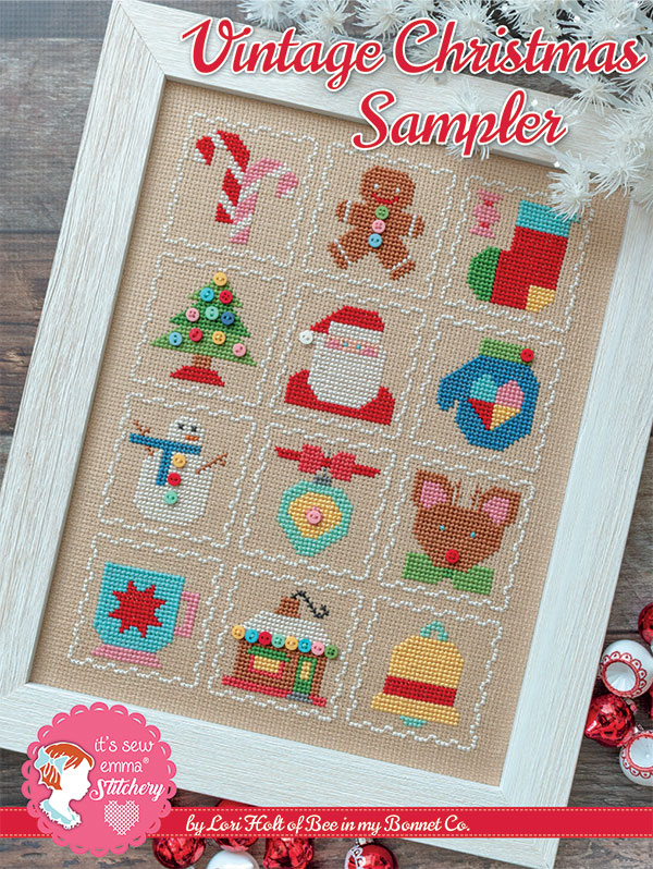 Vintage Christmas Cross Stitch Sampler Cross