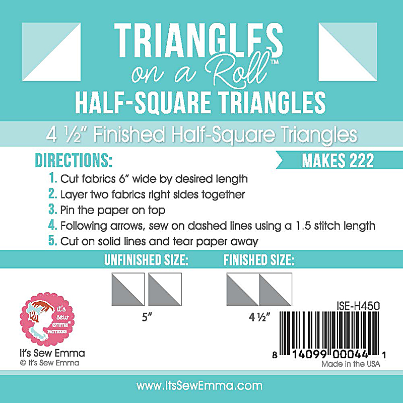 Triangle on a Roll - Half Square Triangles 4.5in