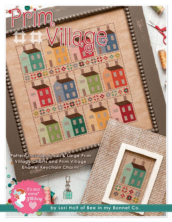 Prim Village Cross Stitch Pattern