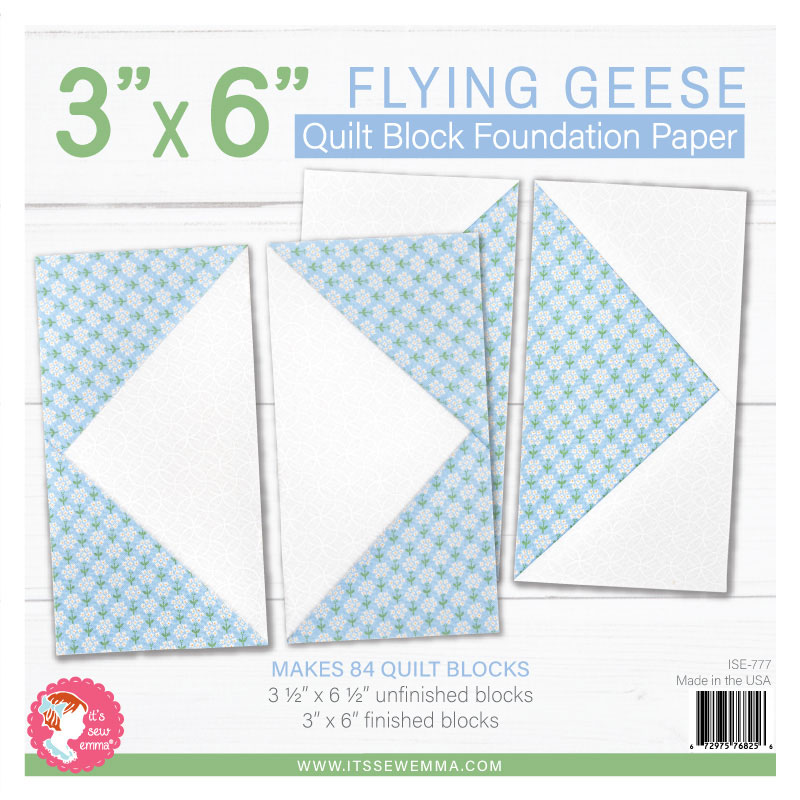 It's Sew Emma - 3 x 6 Flying Geese Quilt Block Foundation Paper