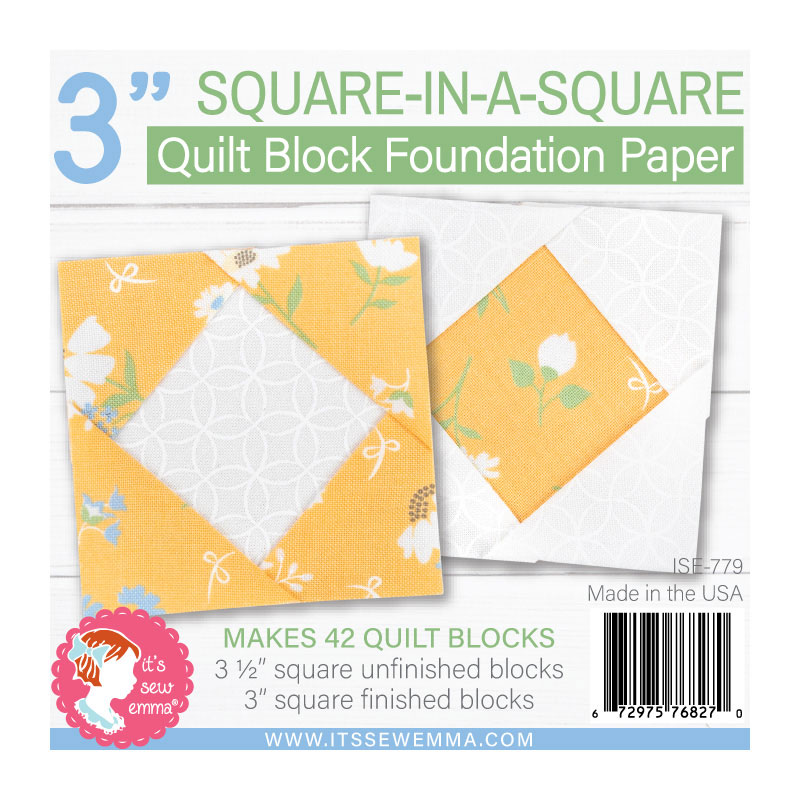It's Sew Emma - 3 Square-In-A-Square Quilt Block Foundation Paper (Makes 42 Blocks)