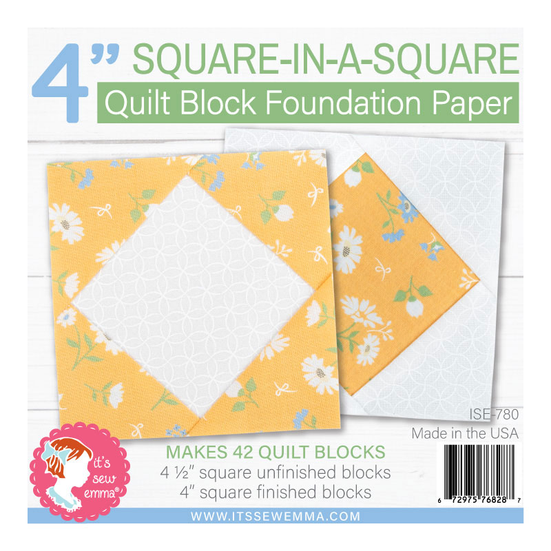 It's Sew Emma - 4 Square-In-A-Square Quilt Block Foundation Paper - (Makes 42 Blocks)