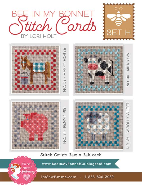 Bee In My Bonnet Stitch Cards Set H