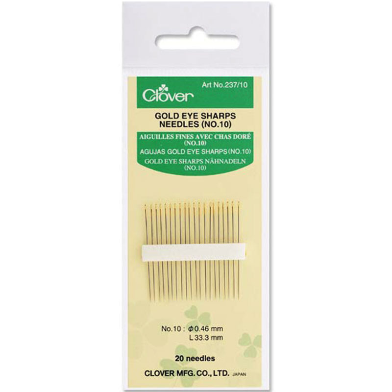 Clover - Gold Eye Sharps Needles sz10