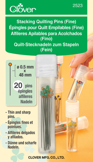 Stacking Quilting Pins Fine Stacking Container with fine glass head pins