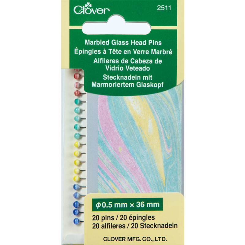Clover- Marbled Glass Head Pins 20ct