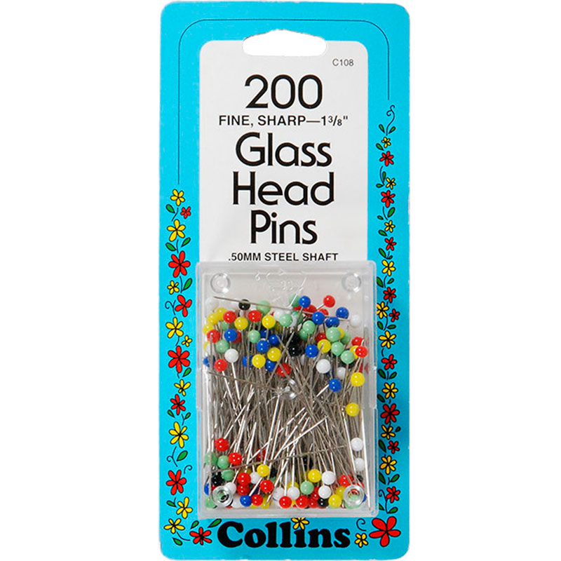 Glass Head Pns 1 3/8 Ast 200 Ct