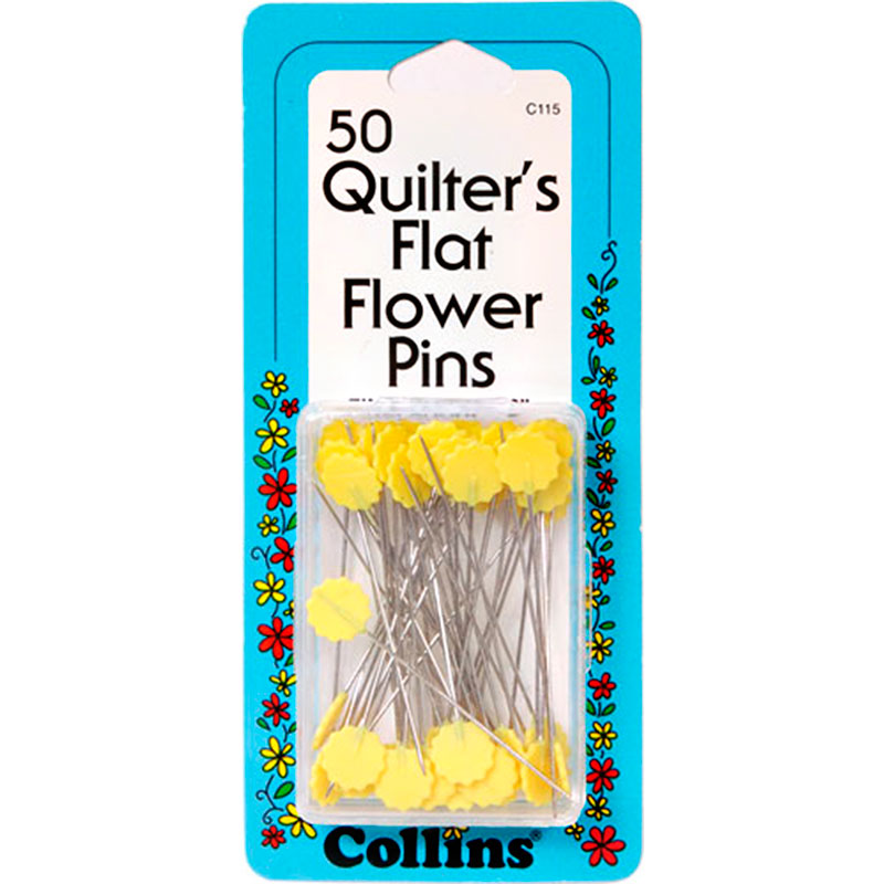 Collins Quilter's Flat Flower Pins (50)