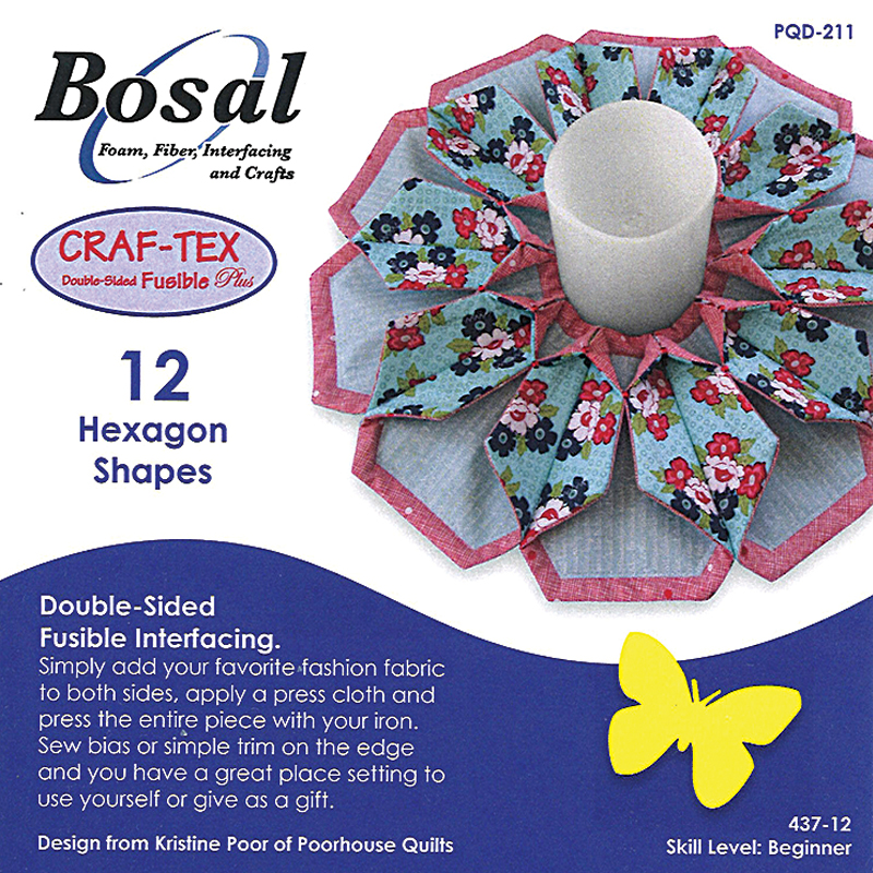 Bosal Craf-Tex Double Sided Fusible Plus: Hexagon 12 count