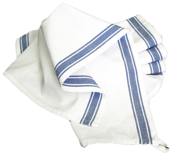 Aunt Martha's Vintage Striped Towel white blue strips