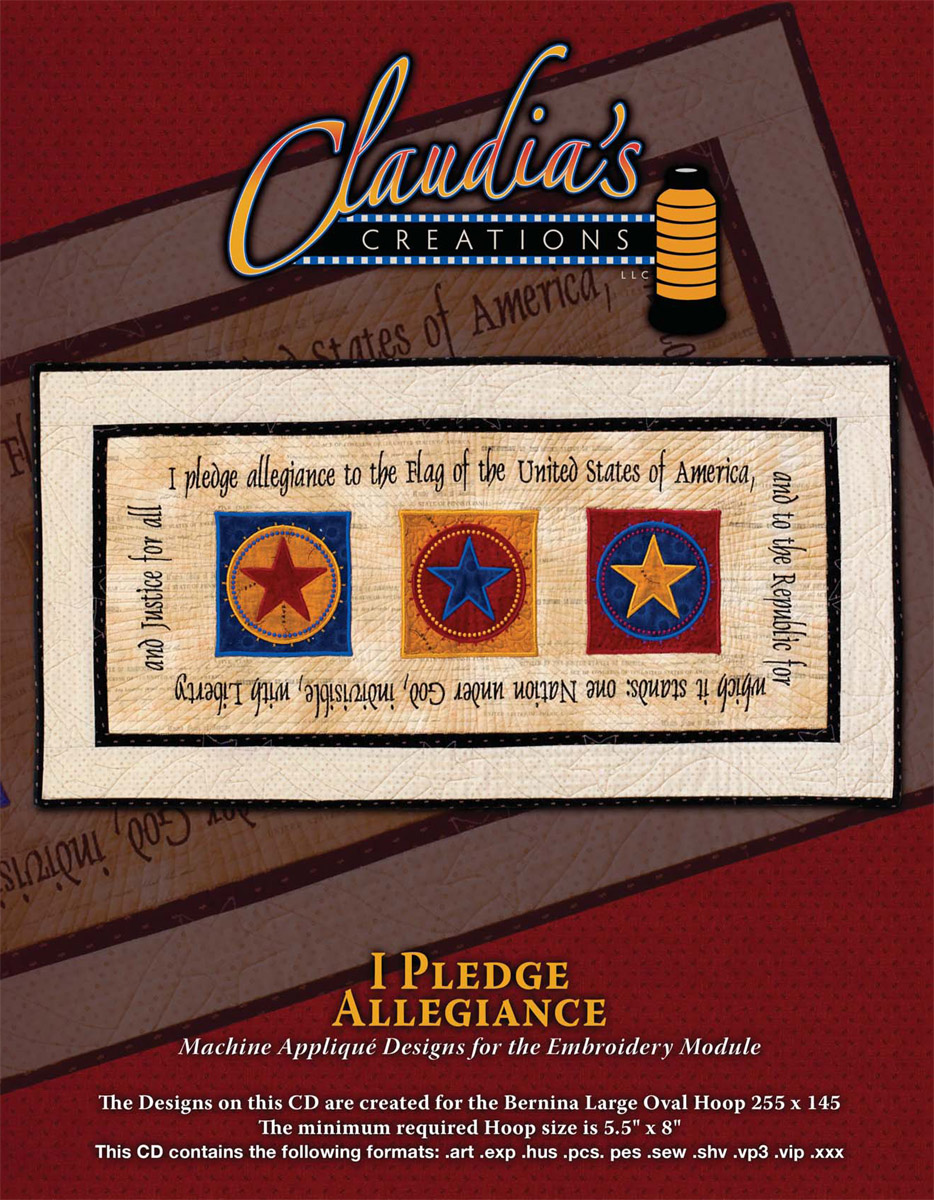 I Pledge Allegiance Machine Embroidery by Claudia's Creations