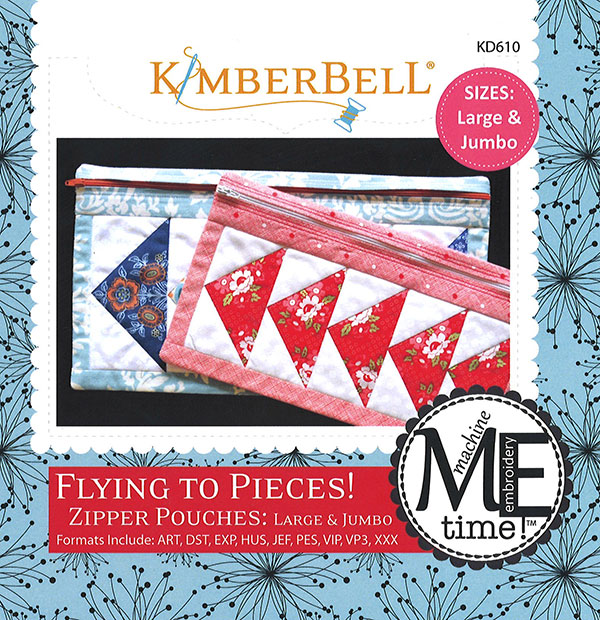 Kimberbell Flying To Pieces Zipper Pouch Large & Jumbo Machine Embroidery