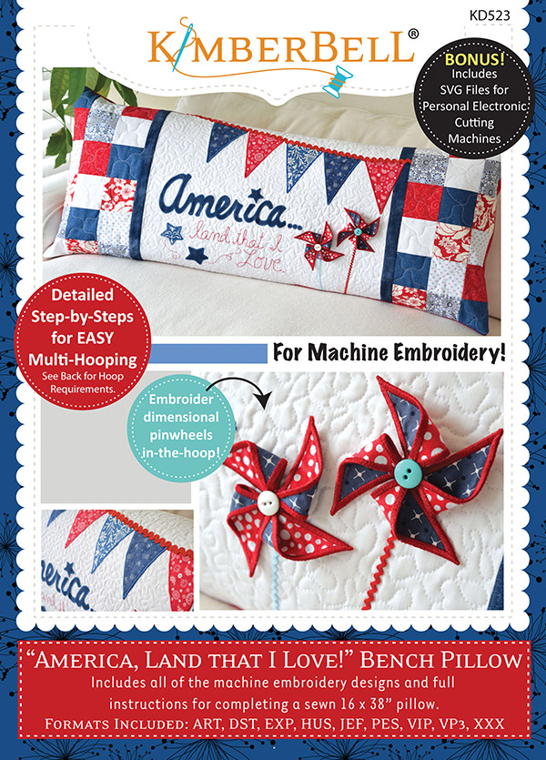 Kimberbell America Land I Love Bench Pillow Machine Embroidery CD