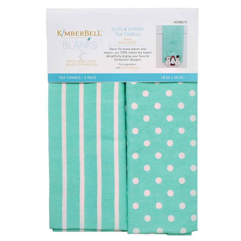 Tea Towels Dot/Stripe Aqua 2ct