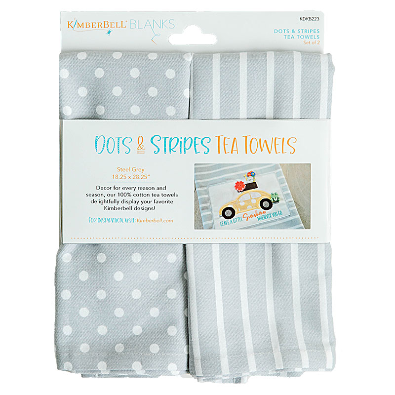 Tea Towels Dot/Stripe Grey 2ct - Kimberbell - 818514021714 - KDKB223