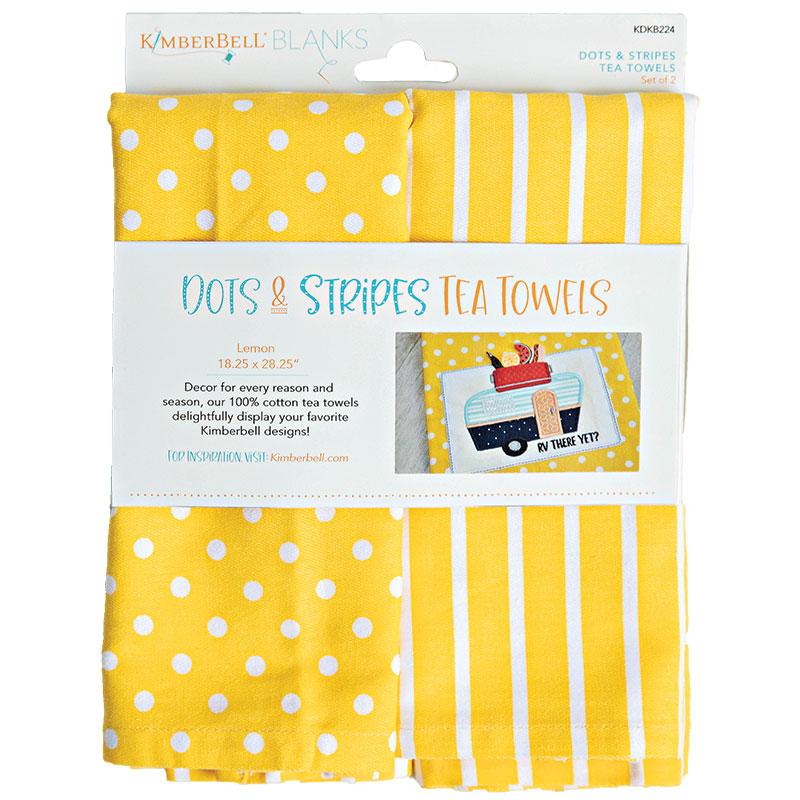 Tea Towels Dot/Stripe Lemon 2ct