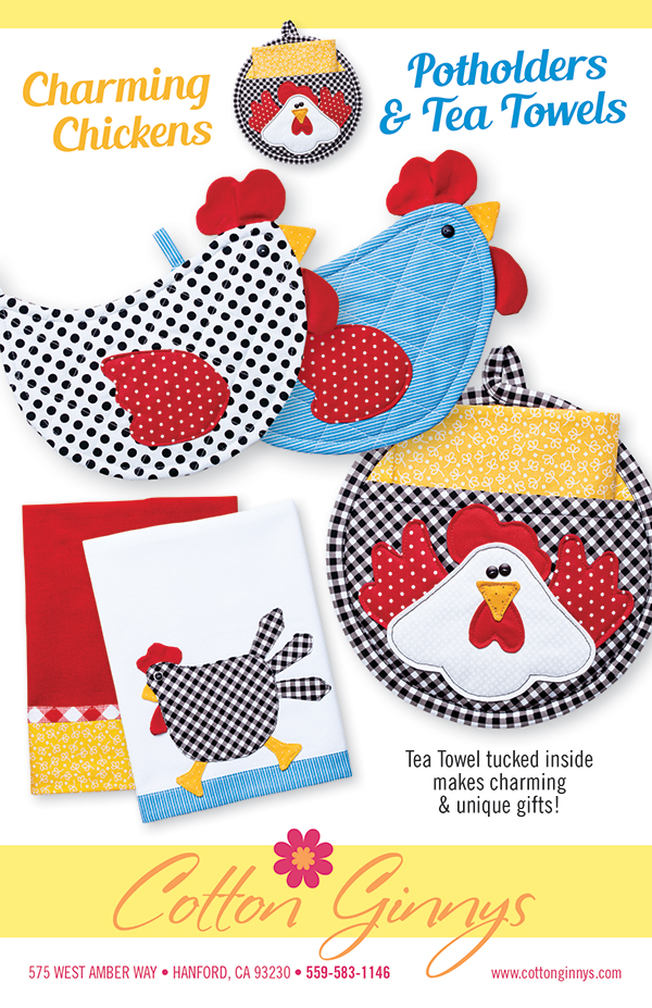 Charming Chickens Potholder/Tea