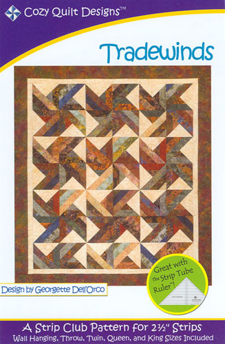 Tradewinds, Pattern for 2 1/2-inch Strips, Cozy Quilt Designs