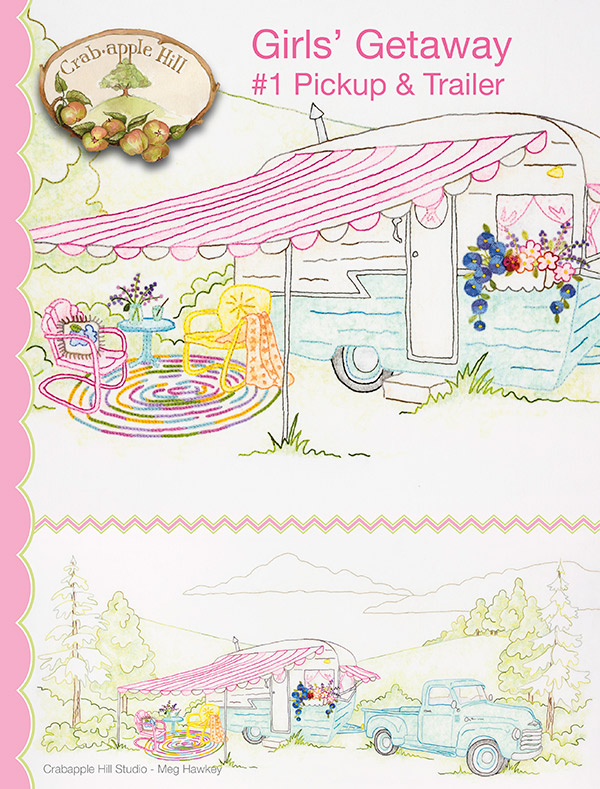 CRAB-APPLE HILL Girls Getaway #1/Pickup Trailer HAND EMBROIDERY