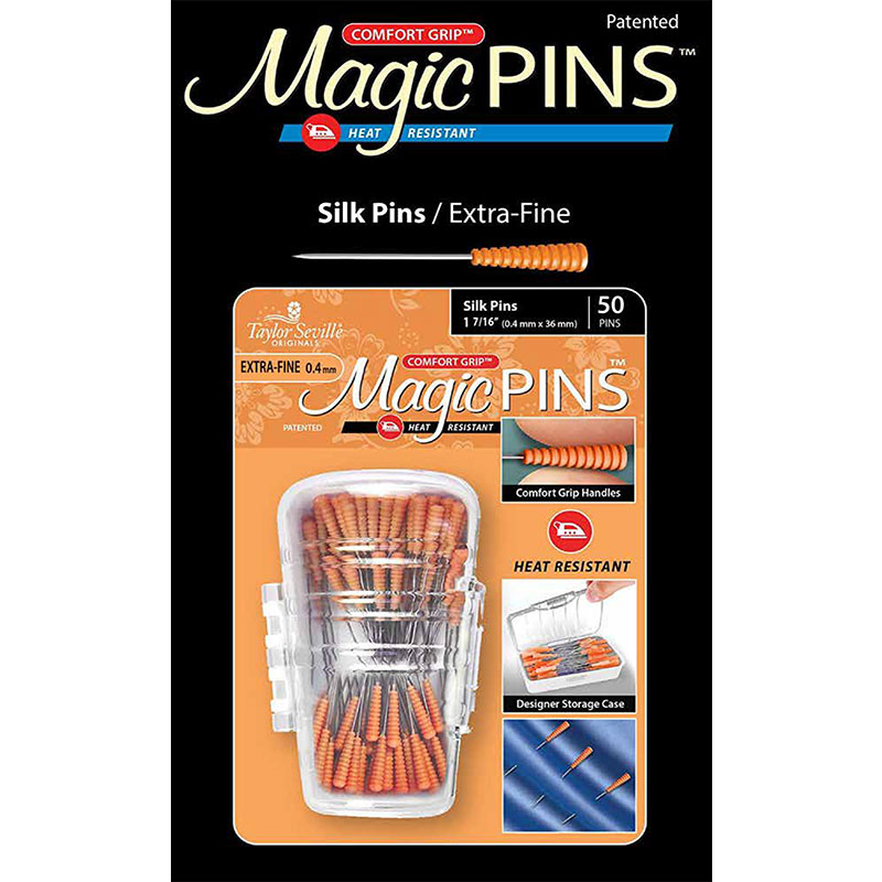 Magic Pins Silk Pins - Extra-Fine 0.4 mm - 50 pins - Taylor Seville Original