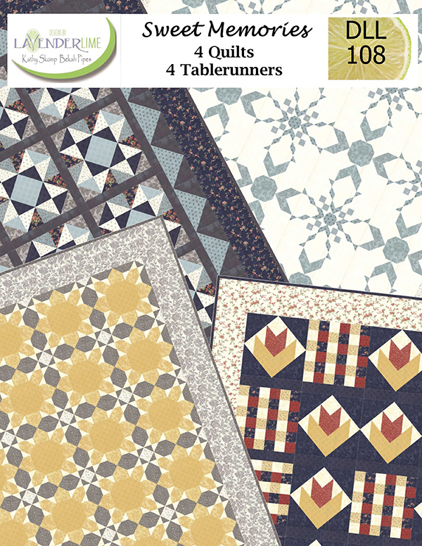 Lavender Lime Sweet Memories-DLL 108-4 Quilt Patterns & 4 Tablerunners