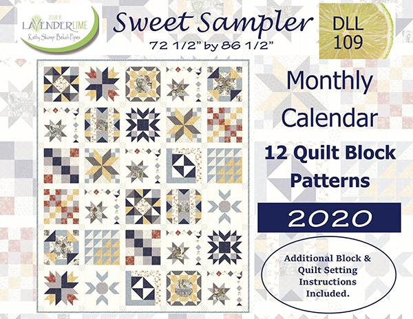 Sweet Sampler Monthly Calendar with 12 Quilt Block Patterns 2020
