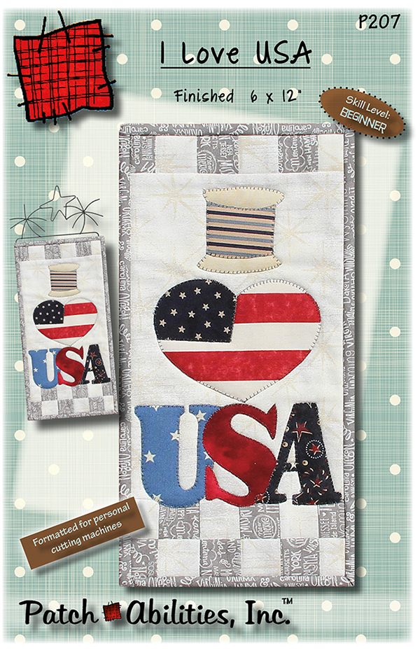P207 I Love USA quilted wall hanging pattern