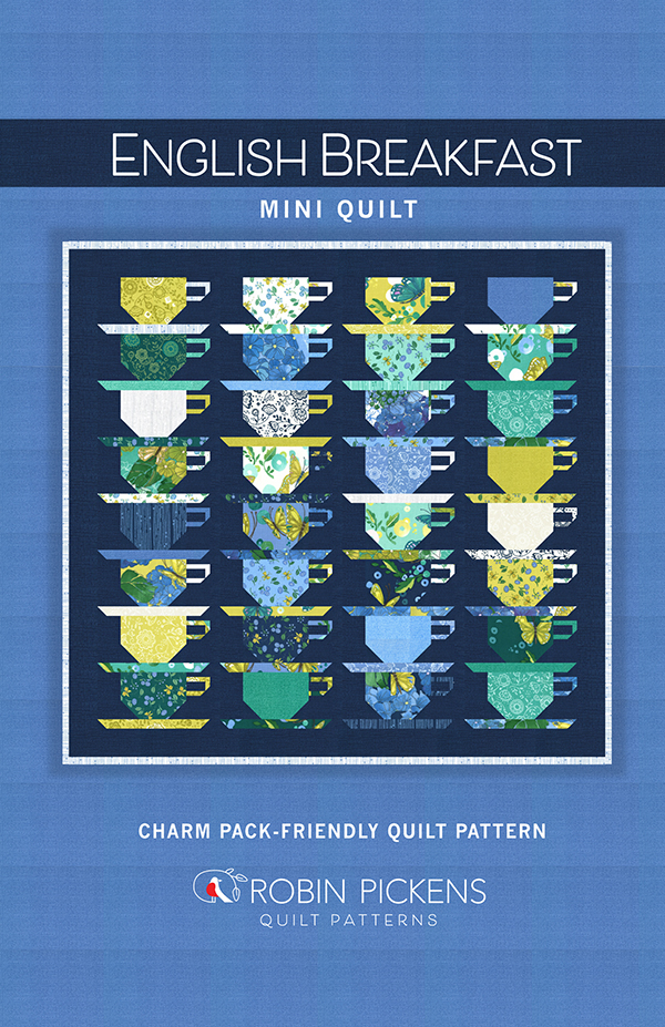 Cottage Bleu English Breakfast Pattern, Charm Pack friendly 29 x 27, designed by Robin Pickens