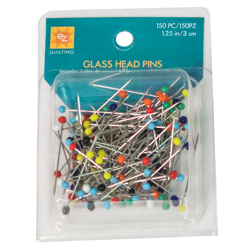 Glass Head Pin Assorted Color Heads Size 20 1-1/4in 150ct