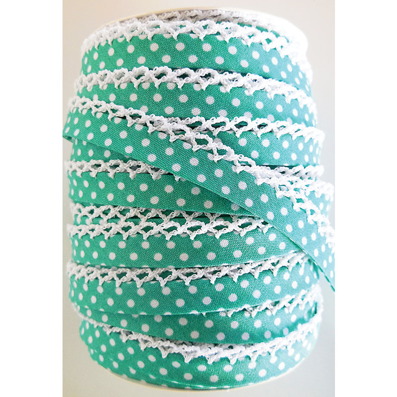 Crochet Edge DF Bias Dots Seafoam~