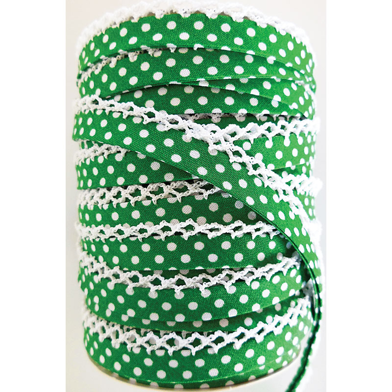 Crochet Edge DF Bias Dots Kelly