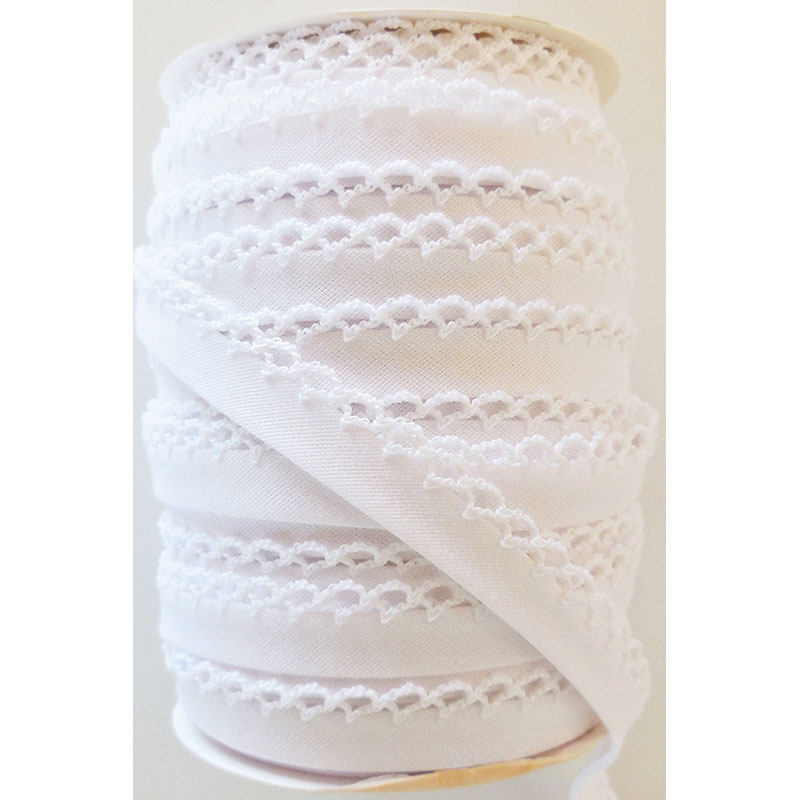 Double Fold Crochet Edge Bias Tape Solid White