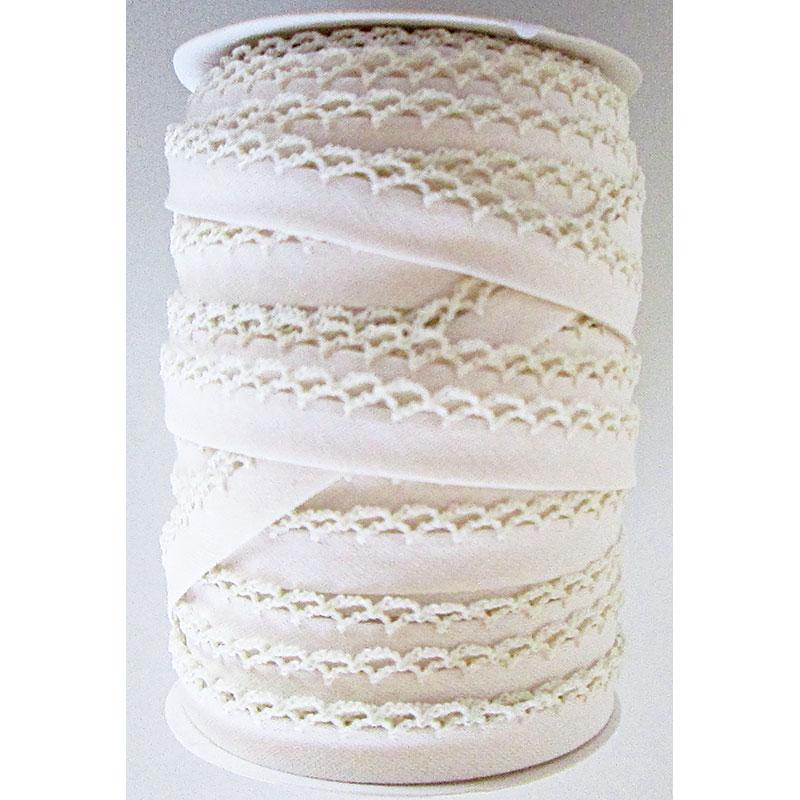 Double Fold Crochet Edge Bias Tape Solid Muslin