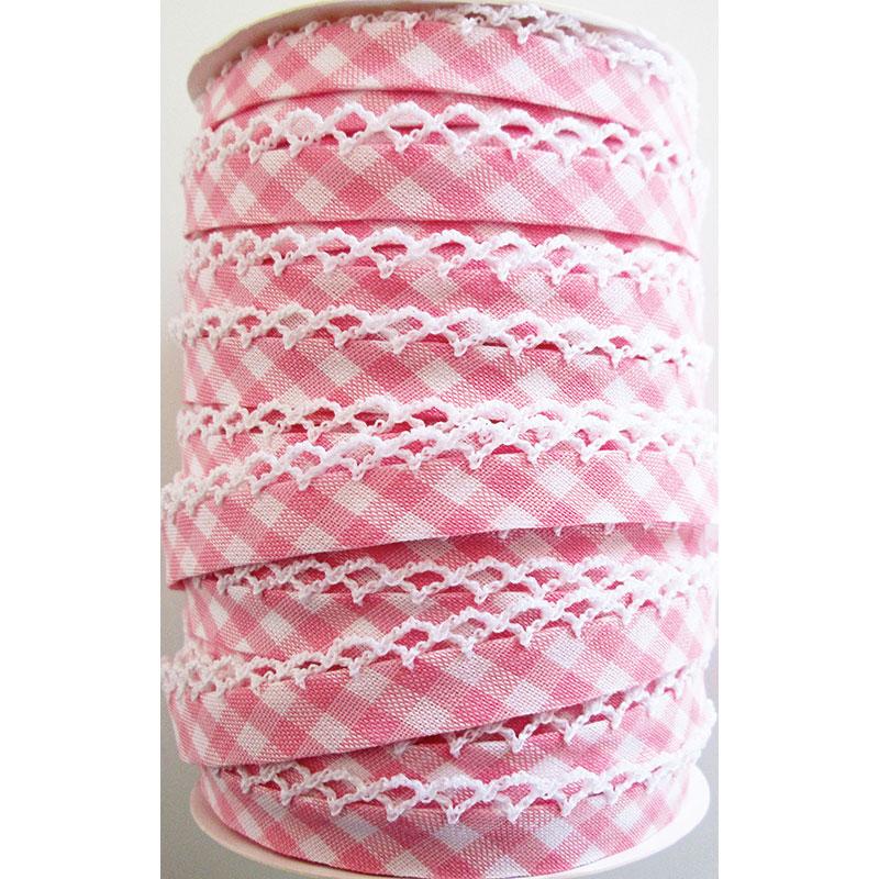 Crochet Edge DF Bias Check Pink