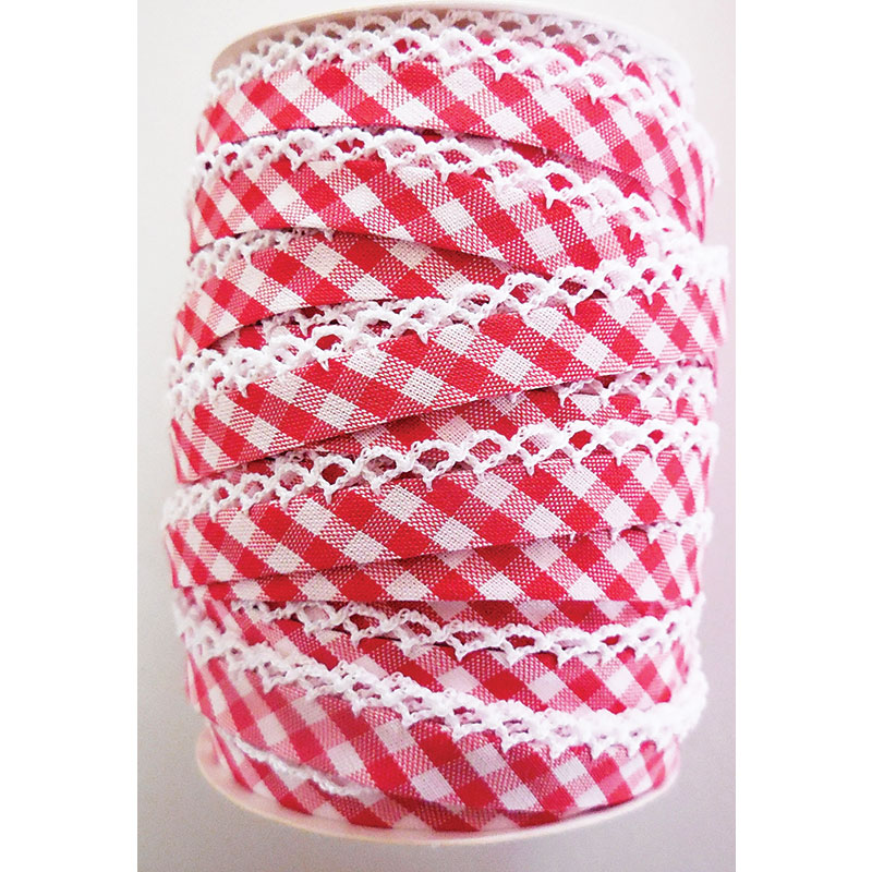 Double Fold Crochet Edge Bias Tape Gingham Red
