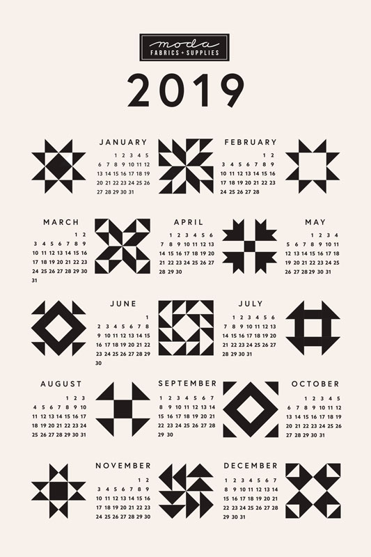 2019 Calendar Quilt Block Tea Towel