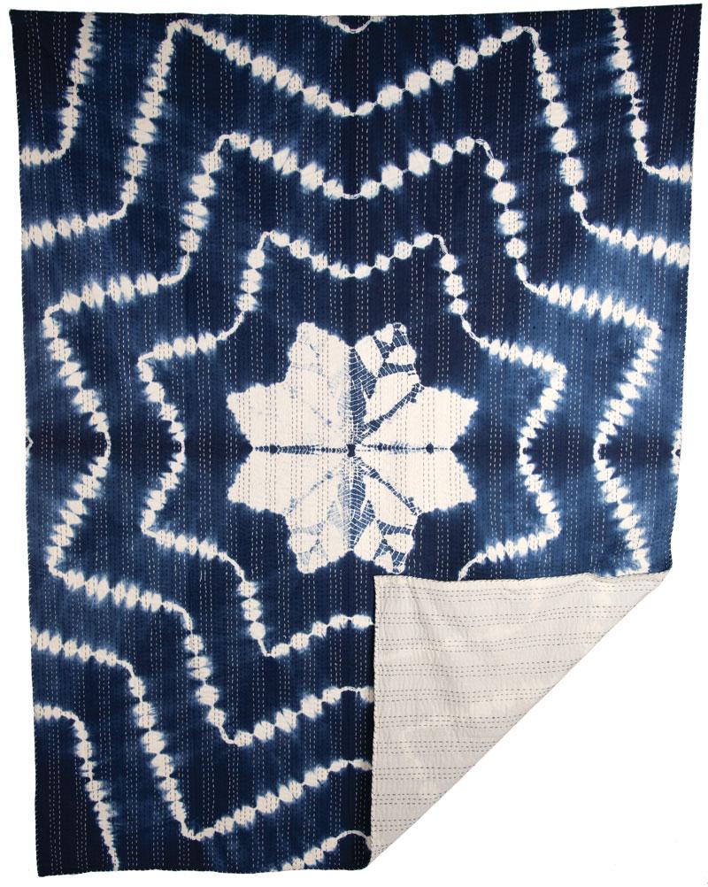 Kantha Indigo Throw: Starburst (70 x 90)