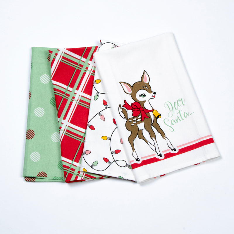 Deer Christmas Towel Set of 4 - Moda - 961 185