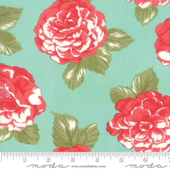 Early Bird Blooms Aqua - Cotton Sateen - 108in