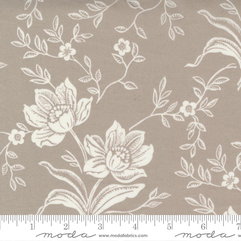 108 Woodcut Floral Grey