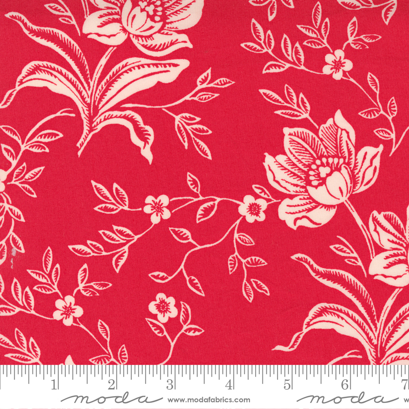 108 Woodcut Floral Red