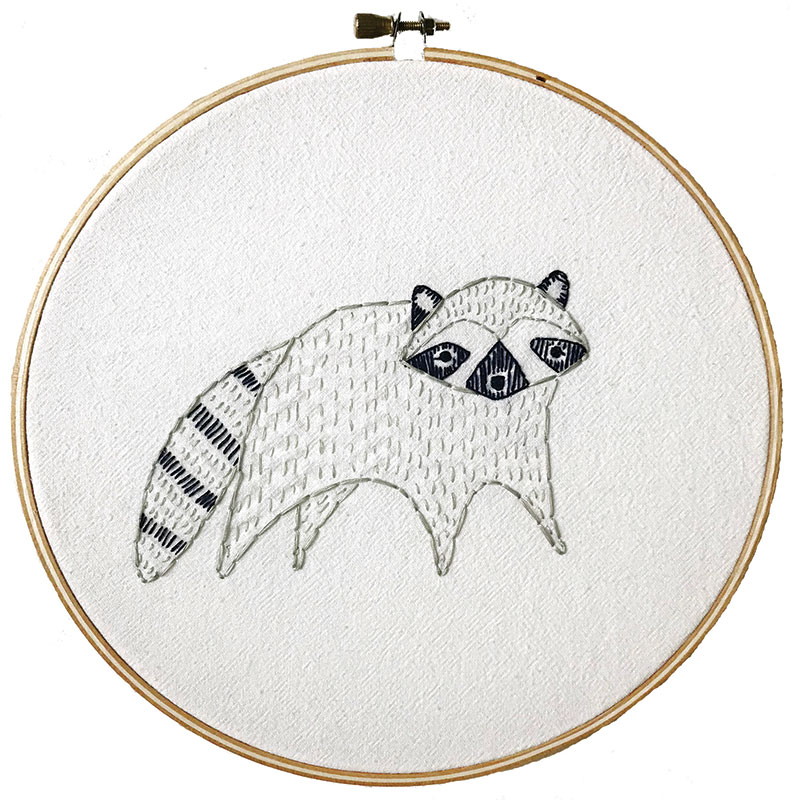 Bramble Embroidery Sampler Raccoon