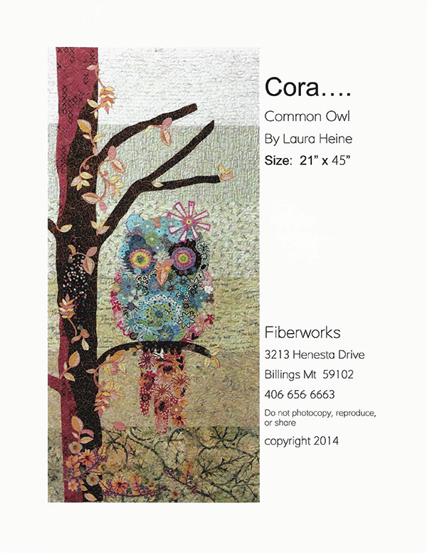 Cora...Common Owl Collage Pattern by Laura Heine 21x 45