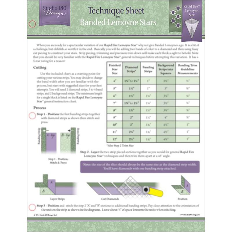 Banded Lemoyne Stars Technique Sheet for Rapid Fire Lemoyne Star Ruler - UDTEC10