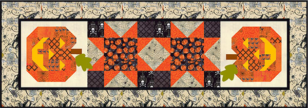 Happy Jack Halloween Table Runner and Placemats Pattern, 19 x 55 and 18 x 22