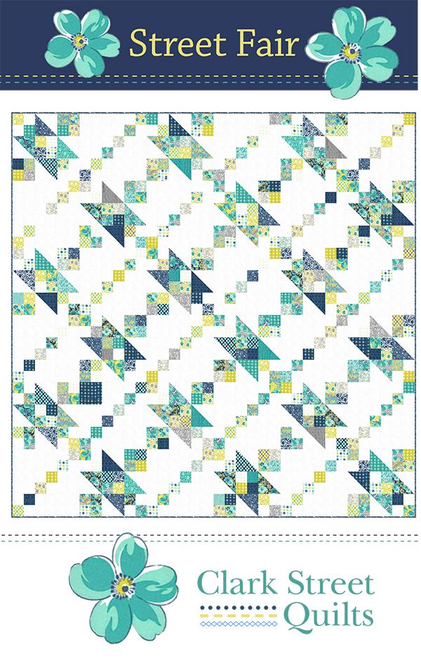 Flowers For Freya Street Fair Quilt Pattern, 72 x 72, designed by Clark Street Quilts