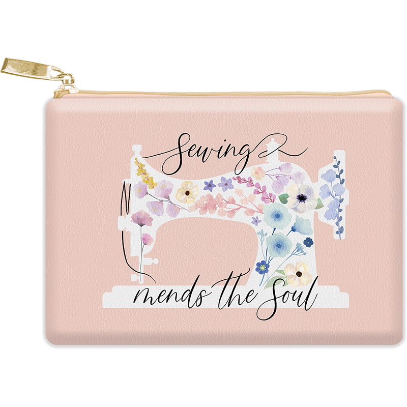 Glam Bag Floral Sewing Machine Silhouette Zipper Pouch