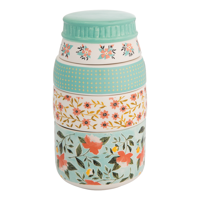 Peony & Mint Canning Jar Measuring Cup by  One Canoe Two for Moda