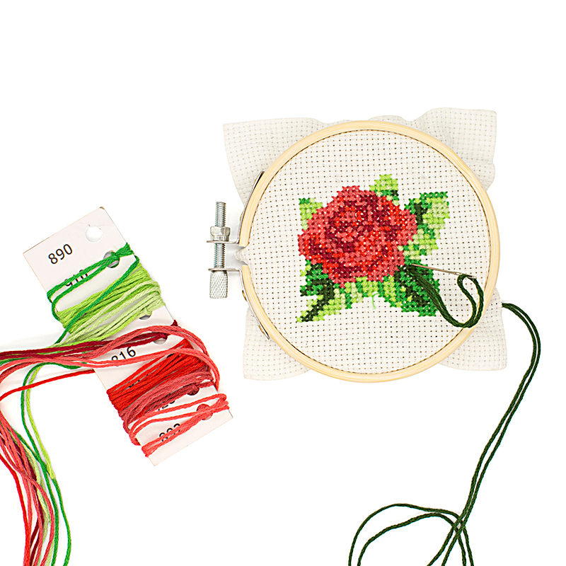 Rose Mini Cross Stitch Embroidery Kit (Kikkerland)